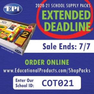 Order School Supplies by July 7th!